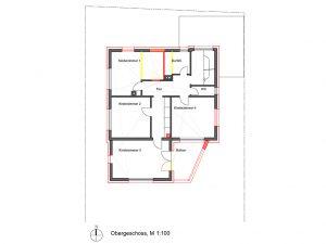 Komplettsanierung eines Wohnhauses in Ludwigsburg, Grundriss OG